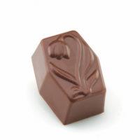 Chocolate negro relleno de ganache de chocolate con leche y naranja, reducción de vinagre balsámico y vainilla natural. $5,90/100gr